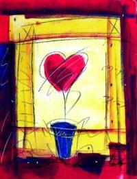 Original Acrylbild von Etelka Kovacs-Koller - Herzblume - Etuede
