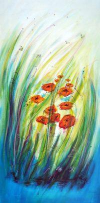 Original Acrylbild von Etelka Kovacs-Koller - Blumenblau - Etuede