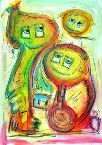 Original Acrylbild von Etelka Kovacs-Koller - Kleine grünliche Monster - Etuede