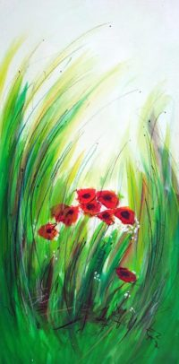 Original Acrylbild von Etelka Kovacs-Koller - Blumengrün - Etuede