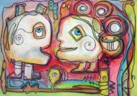 Original Acrylbild von Etelka Kovacs-Koller - Was ich Dir schon immer sagen wollte - Etuede