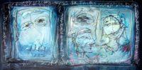 Original Acrylbild von Etelka Kovacs-Koller - Wortgesichter - Etuede