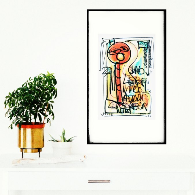 Zeichnung von Etelka Kovacs-Koller Wortsalat 60cmx40cm
