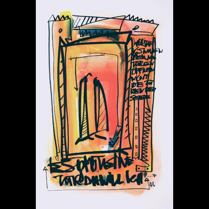 Wortsalat Nr.16 Zeichnung von Etelka Kovacs-Koller, gemalt 2007 in der Provence