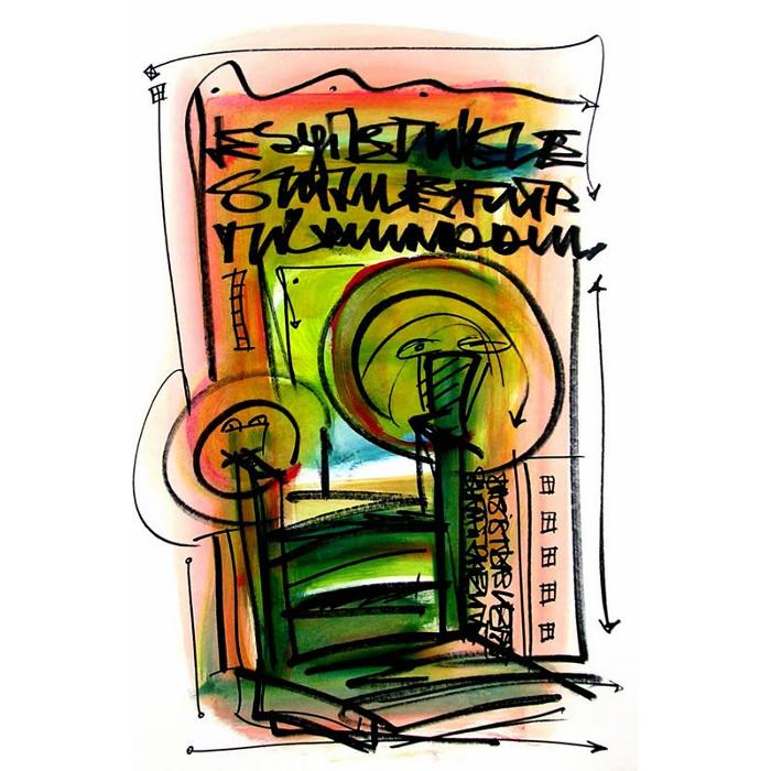 Wortsalat Nr.17 - Zeichnung von Etelka Kovacs-Koller, gemalt 2007 in der Provence