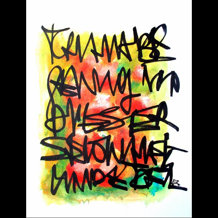 Wortsalat Originalzeichnung von Etelka Kovacs-Koller