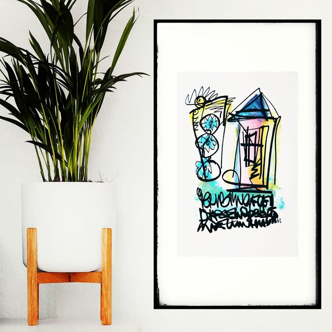 Wortsalat - Zeichnung von Etelka Kovacs-Koller - gerahmt an einer Wand