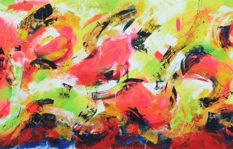 Action Painting im Großformat, Leuchtende Acrylfarben auf Leinwand - von Etelka Kovacs-Koller
