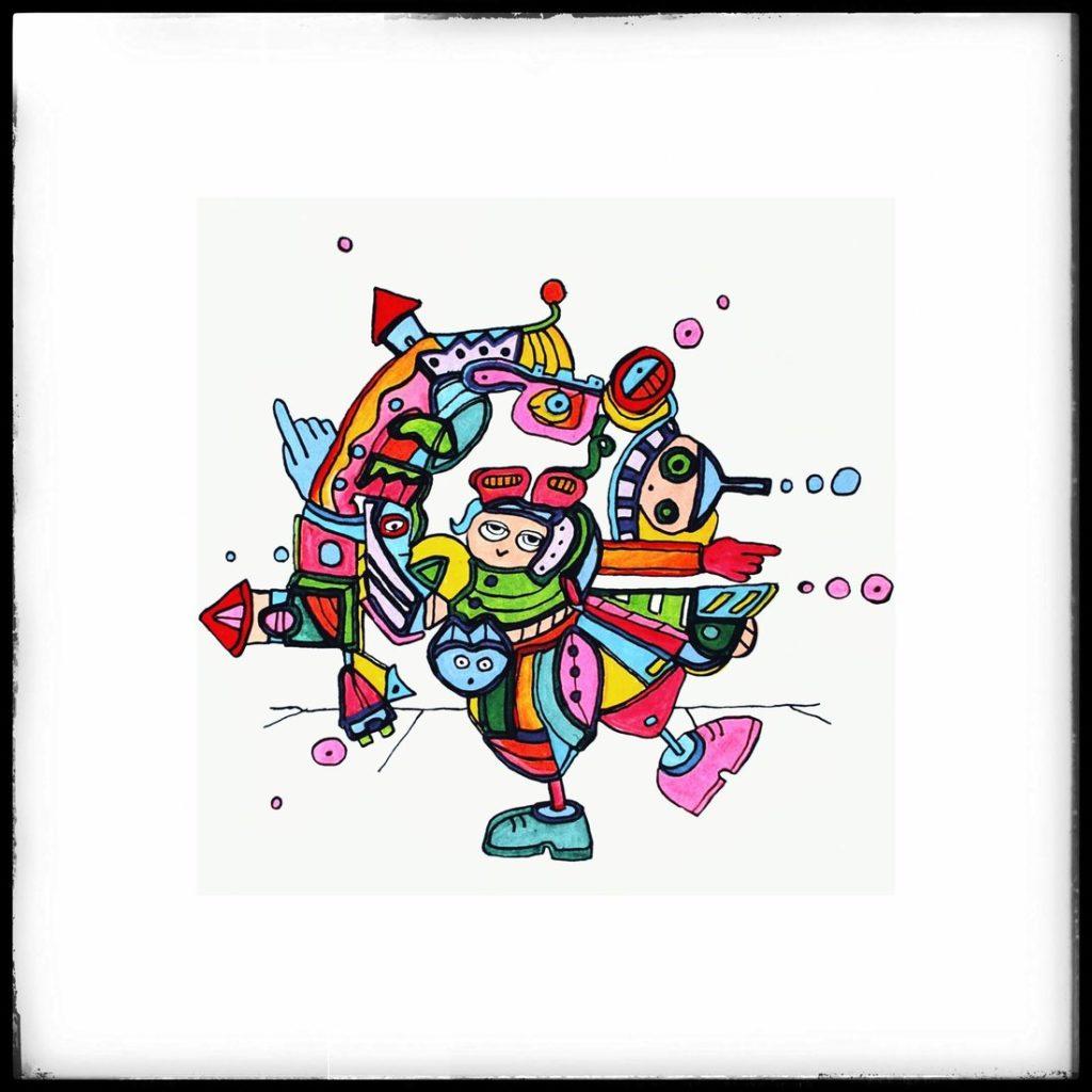 Orginal Zeichnung - Quadratische Pylokraten - Etelka Kovacs-Koller