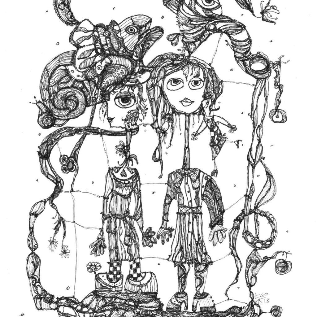Originalzeichnung - Mein Universum im Zeichenstift 2018 - Etelka Kovacs-Koller