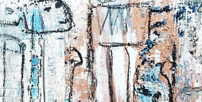 Limericks - Original Zeichnung von Etelka Kovacs-Koller-2019 - Quarzsand, Kupferpigmente und Acrylfarbe auf finnischer Holzpappe