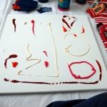Etelka Kovacs-Koller, Vorbereitung, Live Action Painting, Yves Saint Laurent Konferenz